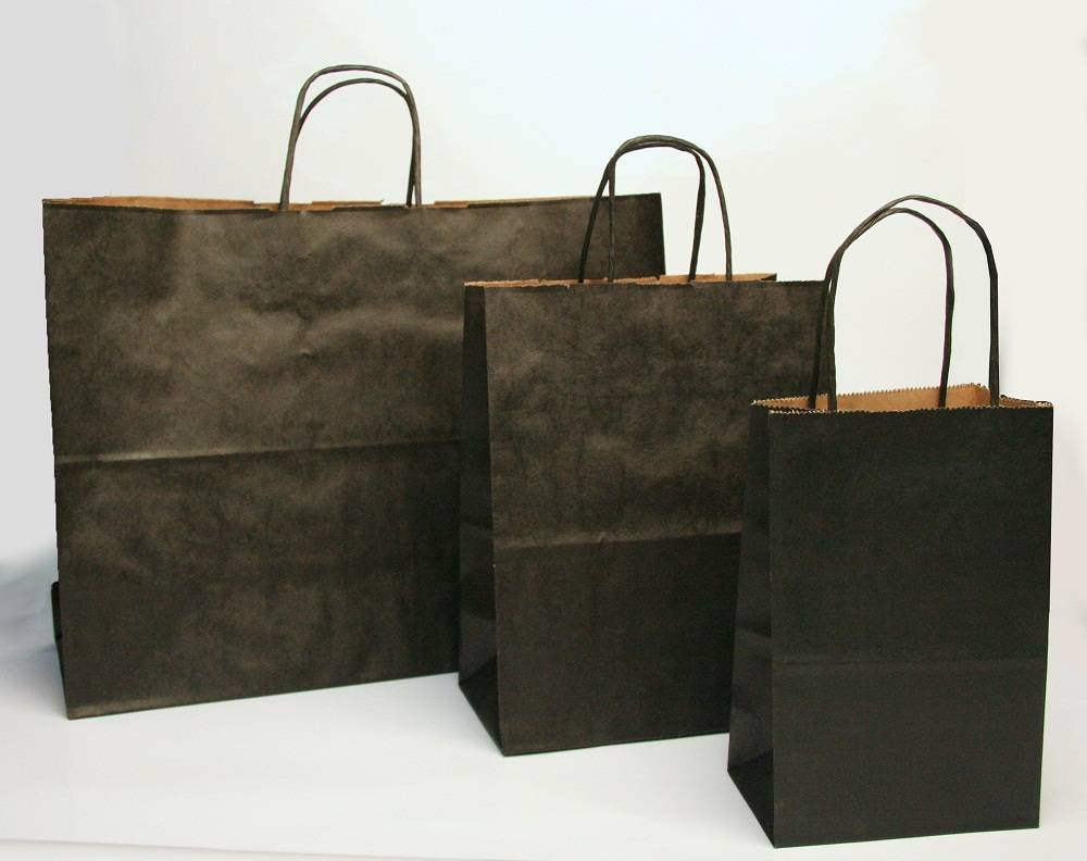 Paper Laminated Promotional Shopping Bag Black Craft Paper Bag