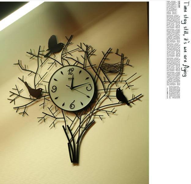 Fashion Creative Birds With Nest Mute Quartz Art Wall Clock Home Decor Craft