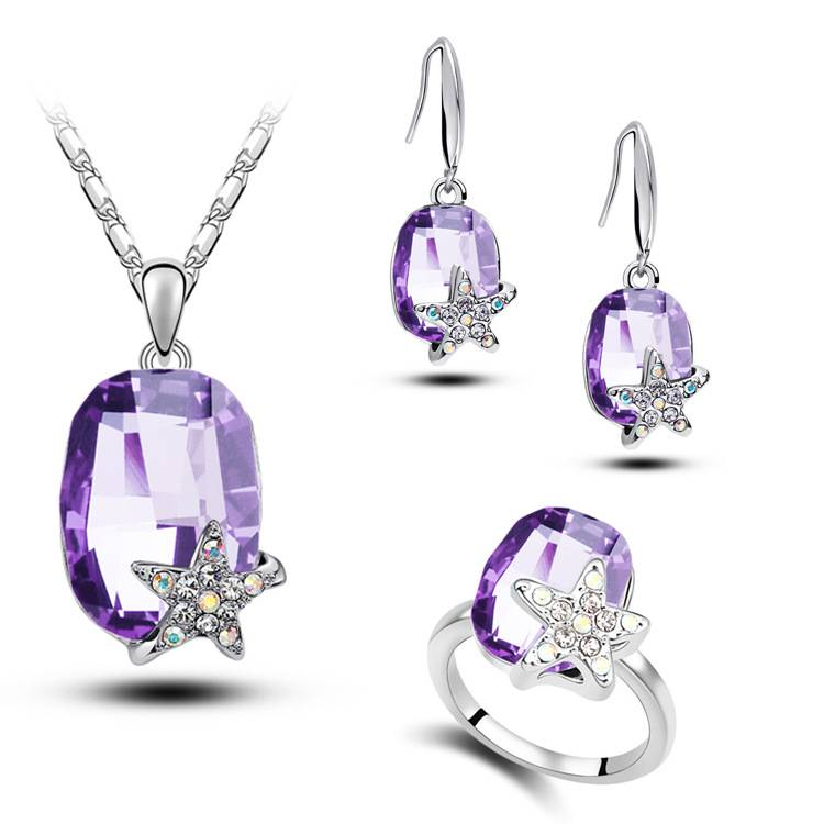Fashion Women Crystal Necklace Earring Ring Jewelry Set