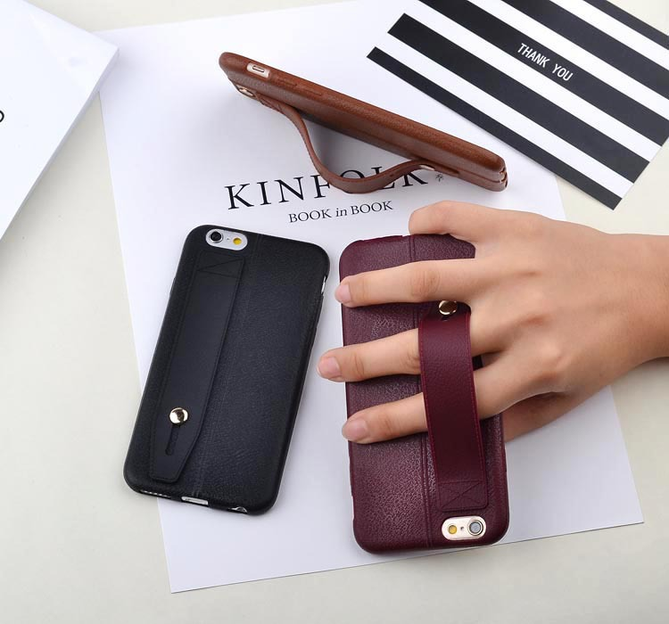 Leather pattern TPU pure color shockproof ultra thin brown soft case with stand for IphoneX 8 7plus