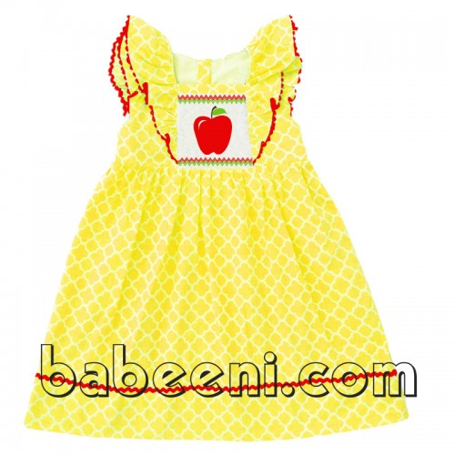 Smocked apple girl dress for Back to school