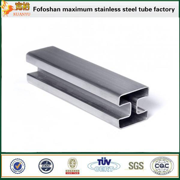 ASTM A554 304 stainless steel double slot tubes for glass railing