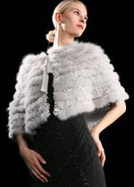 Fox fur with real silk shawl