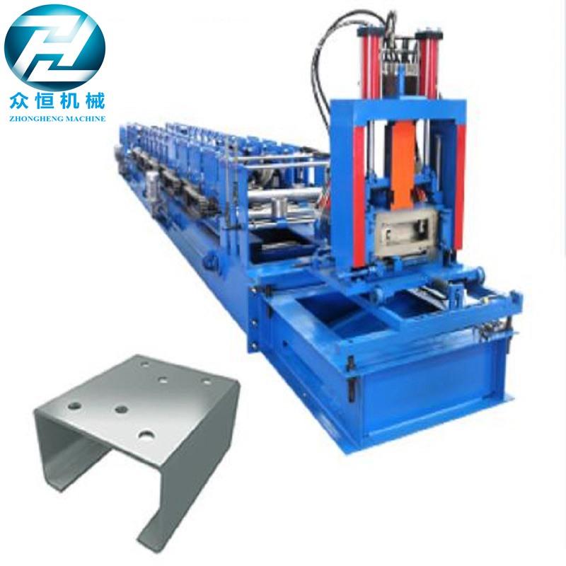 Hydraulic cutting Galvanized Steel C U Z Channel Roll Forming Machine for 3mm