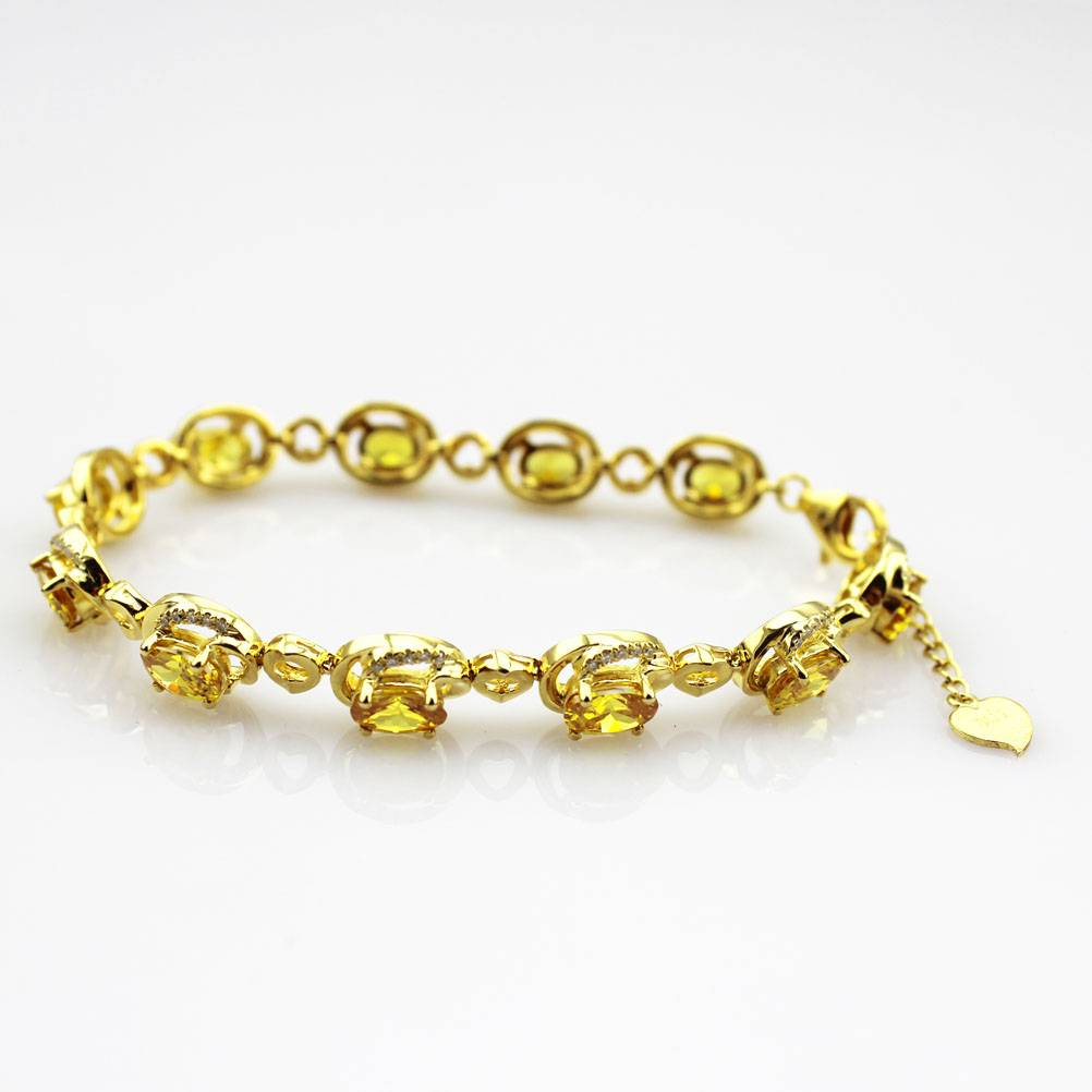 925 silver with gold plated,silver citrine and CZ Bracelet (B06)