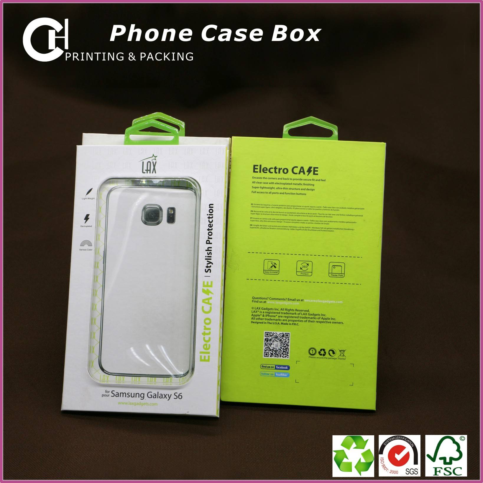 Customized paper box for cell phone case with plastic hang hole