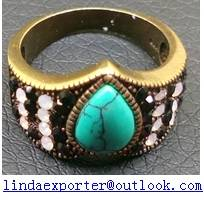 antique brass bronze stone crystal ring