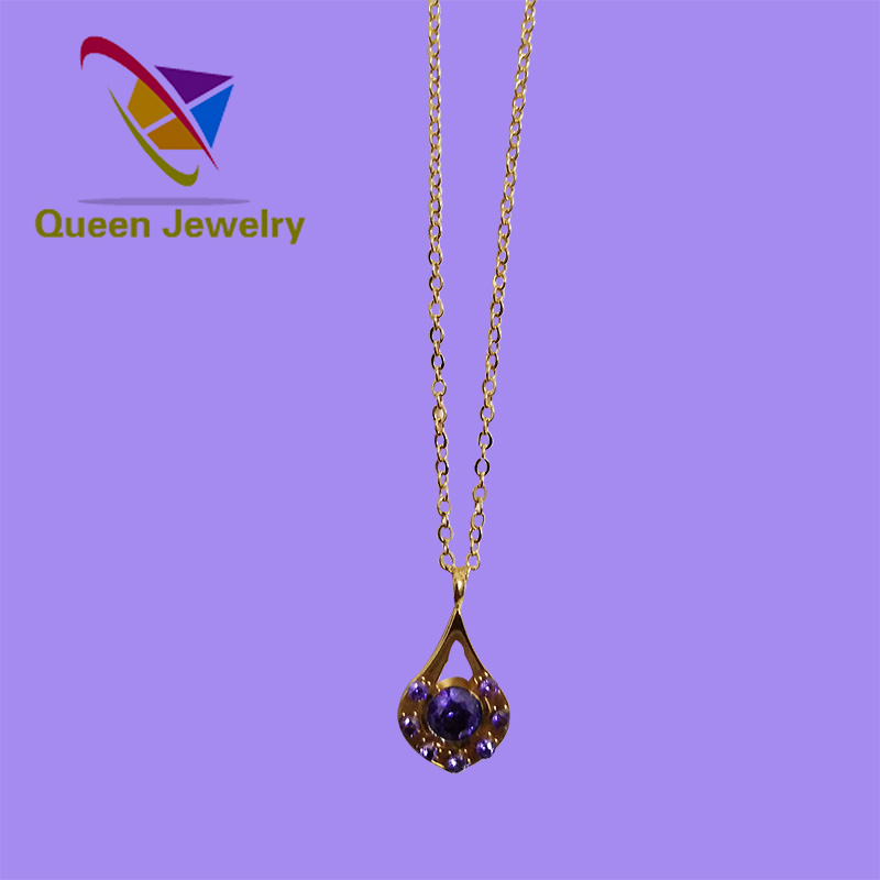 harmony necklace wholesale jewelry wedding party gift gold plated bright purple rhinestone necklace