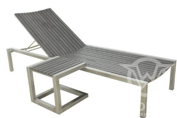 Polywood Chaise Lounge Chair with Stainless Steel Frame