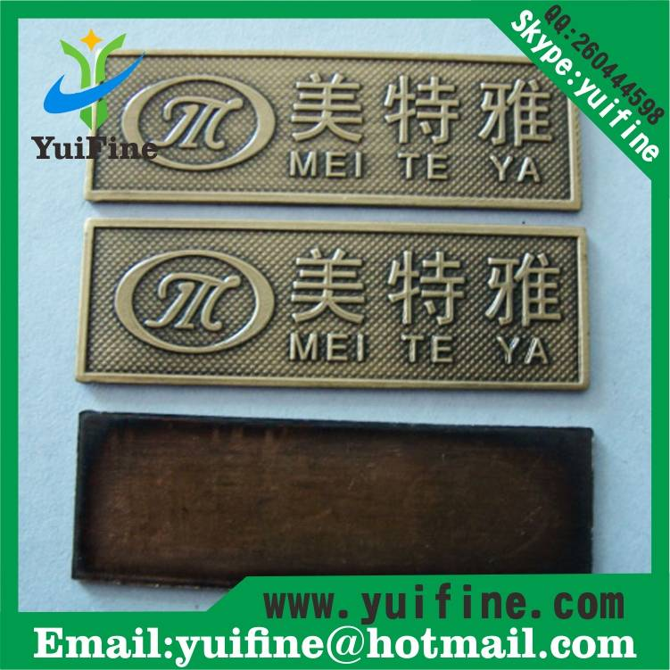 Antique Copper Metal Label For Furniture/Brass Nameplate/logo Embossed Metal Name Plate metal Tag