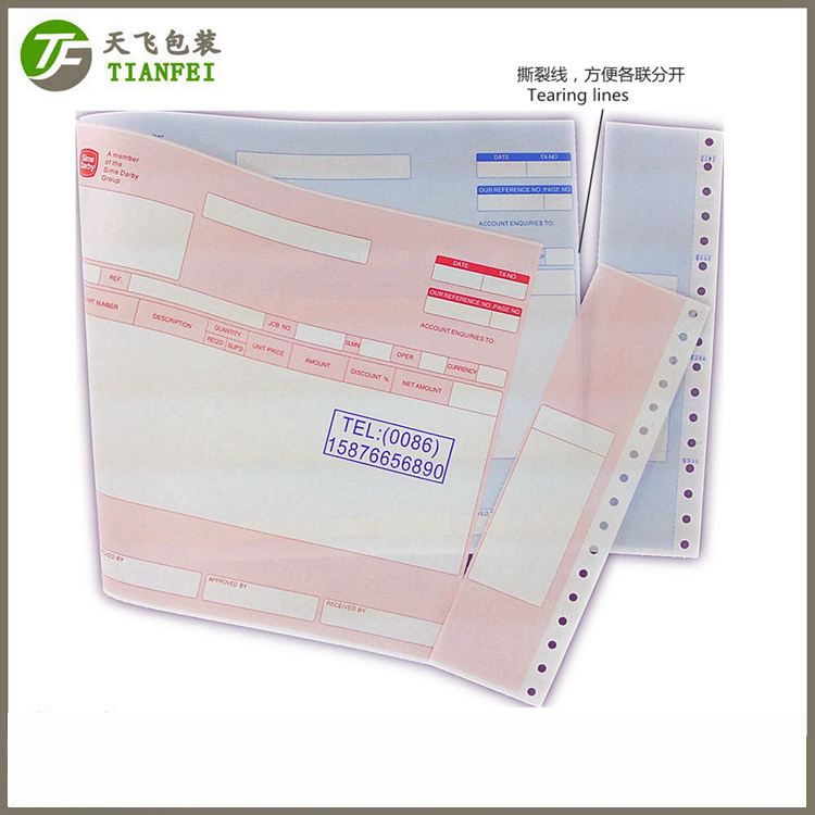 "322mmx8.5""double copies color carbonless paper English purchase order delivery order Material requis"