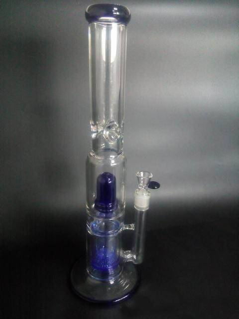 9mm Thick blue dome perc and diffuser perc Glass Ice Bong 18'' Height 14.5 Joint wp9004