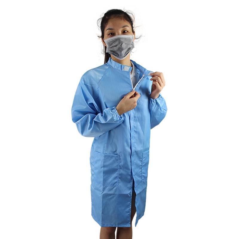 Women Men Zipper Collar Lab Anti Static Uniform with No Dust