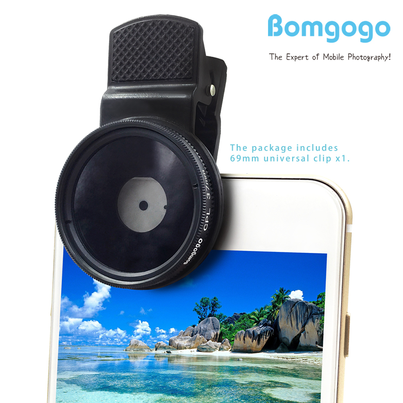 Bomgogo 37mm CPL Filter Lens, Professional Cell Phone Camera Circular Polarizer Lens Kit