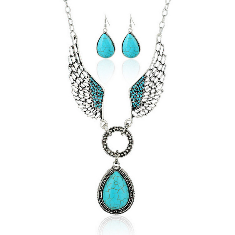 Classic Style Fashion Turquoise Stone Alloy Wings Necklace Earrings Set
