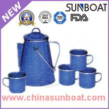 blue color cast iron ename coffee pot