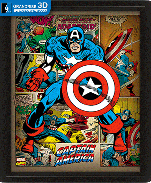 Retro Captain America Poster Movie Lenticular Poster Printing 3D Effect Printing