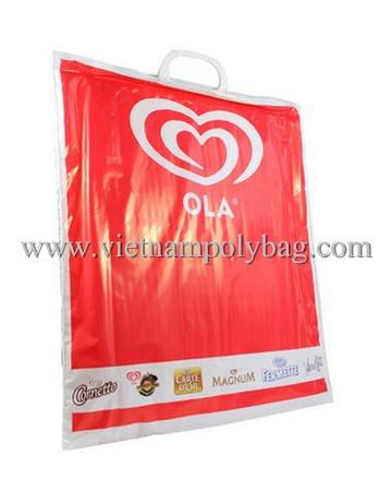 Clip loop hard handle poly plastic bag