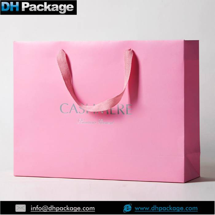 Lovely Pink Underware Women Favors Gift Shopping Paper Bags With Ribbon Handle