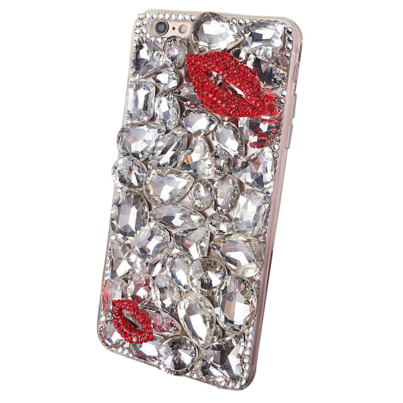 Red Lip Bling Diamond Personalised Phone Case for iPhone X/8/7/6splus Samsung Xiaomi Huawei