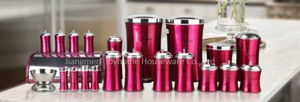 23pcs stainless steel slim kitchen storage set with scale