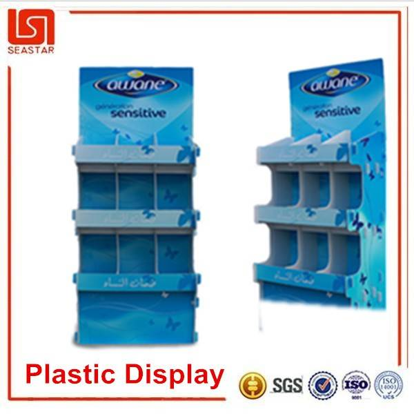 New product China supplier cheapest quality custom recyclable pp plastic floor display racks stand