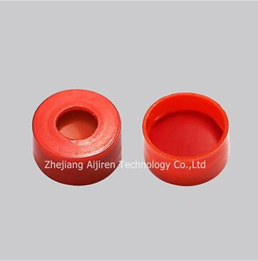 11mm Red PTFE white Silicone red PTFE septa red snap-top polypropylene cap for autosampler vials