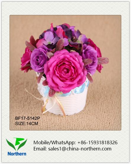 14cm Artificial Rose and Hydrangea Flower Arrangement