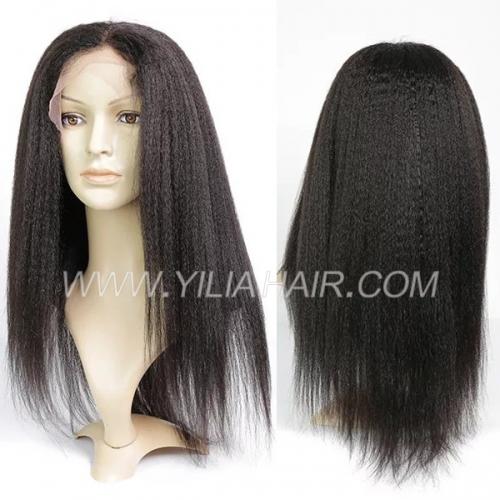 #1B 100% Human hair full lace wigs 130% density Kinky Straight