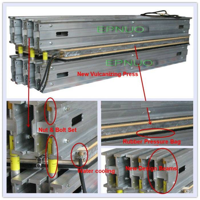 Plate vulcanizing press for rubber conveyor belt splice