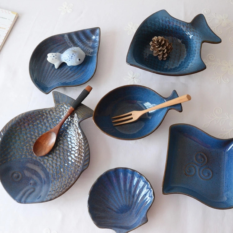 eco-friendly Ceramic cake set snack plate unique fish and seashell shape dishes
