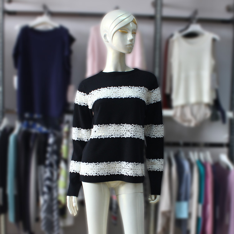 Latest Two Color Design Womens Round Collar Long Sleeve Lace Stripes Knit Pullover Sweater