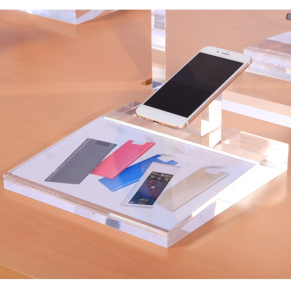 China manufacturer retail desktop 210x210 clear acrylic mobile phone display stand