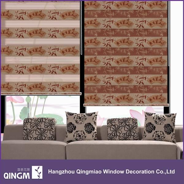 Window Venetian Style Bamboo Pattern Fabric Roller Blind