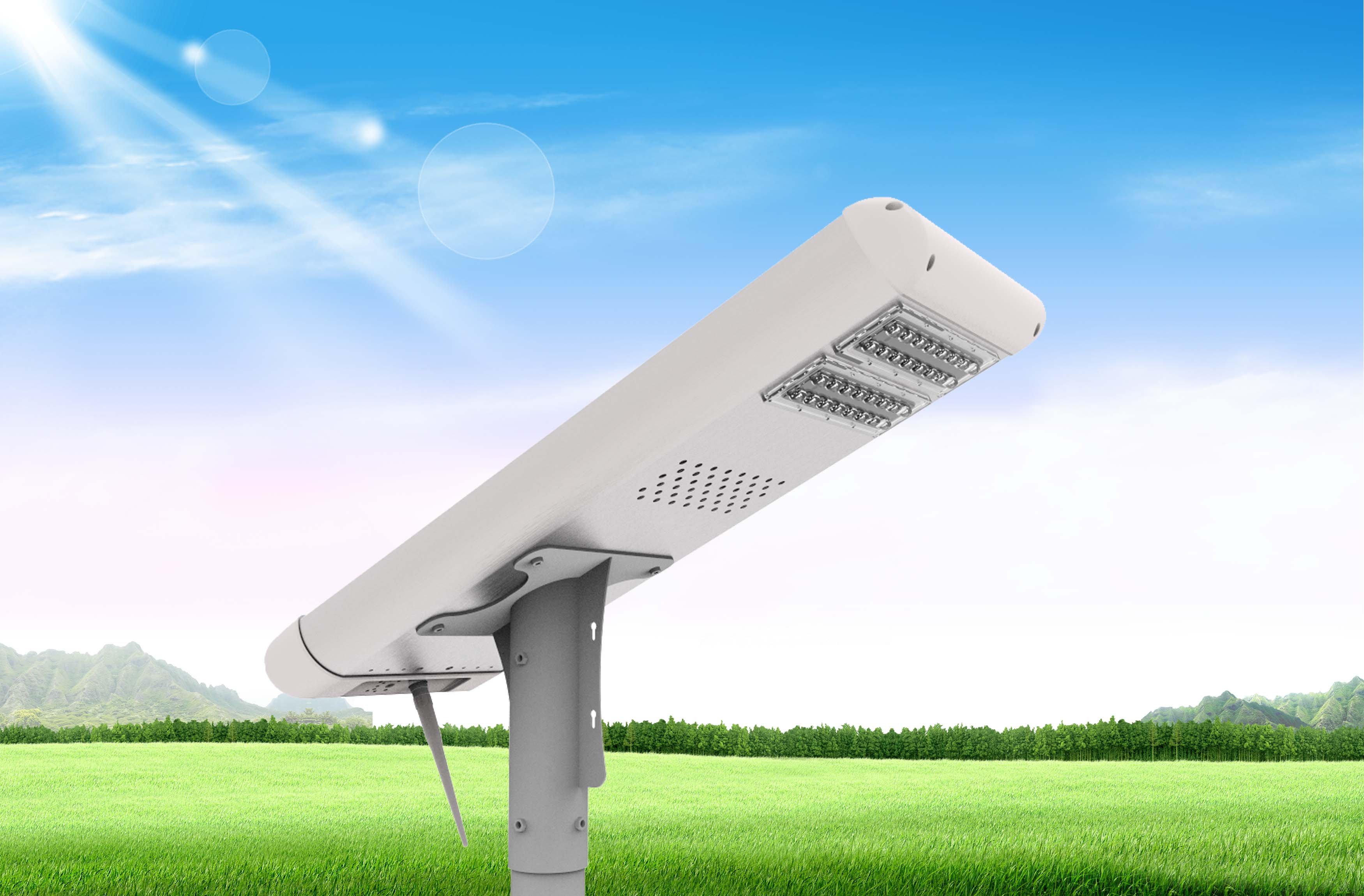 Hybrid LED Street Lighting ( Solar Powered ) with Li Fe PO4 batttery 26650