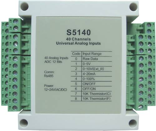 s5140:40-ch 0-5v,0-20mA,dry contact analog input,modbus rtu ,rs485