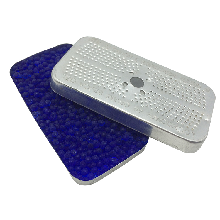 blue silica gel absorbent with tin box
