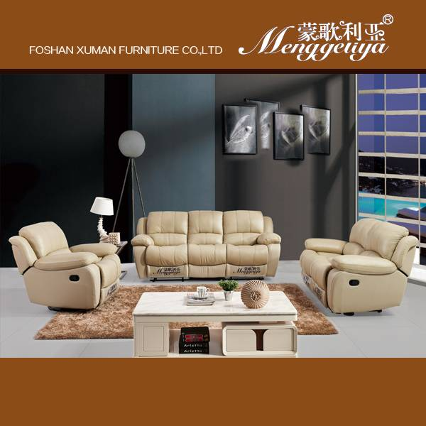 Manual recliner leather sofa