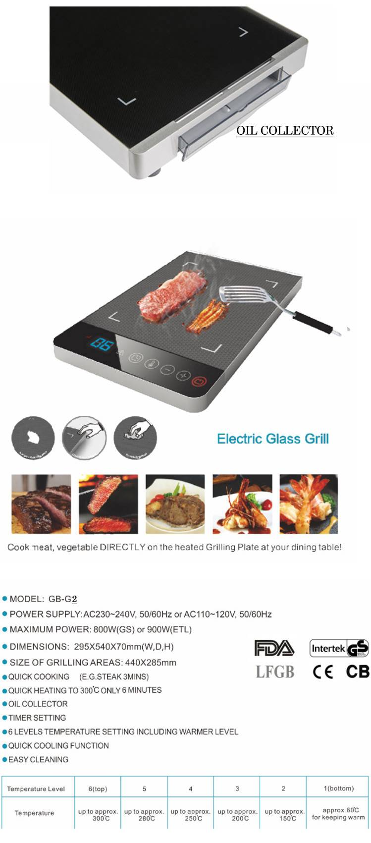 hosun factory supply hot sell electric glass grill