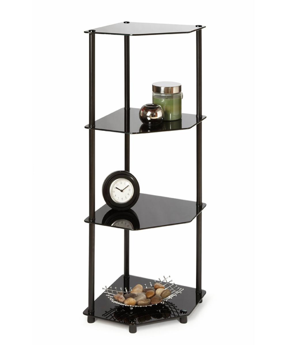 Convenience Concepts Black Classic Glass 4-Tier Corner Shelf