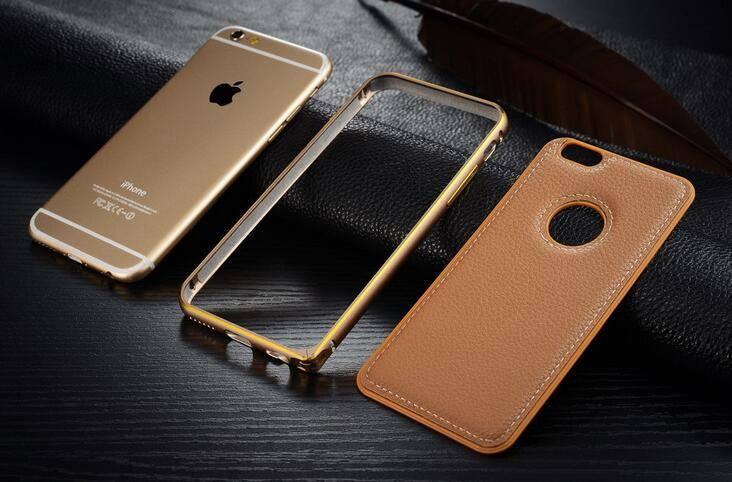 Luxury Fashion Metal Aluminium Leather Case For iphone 6 plus