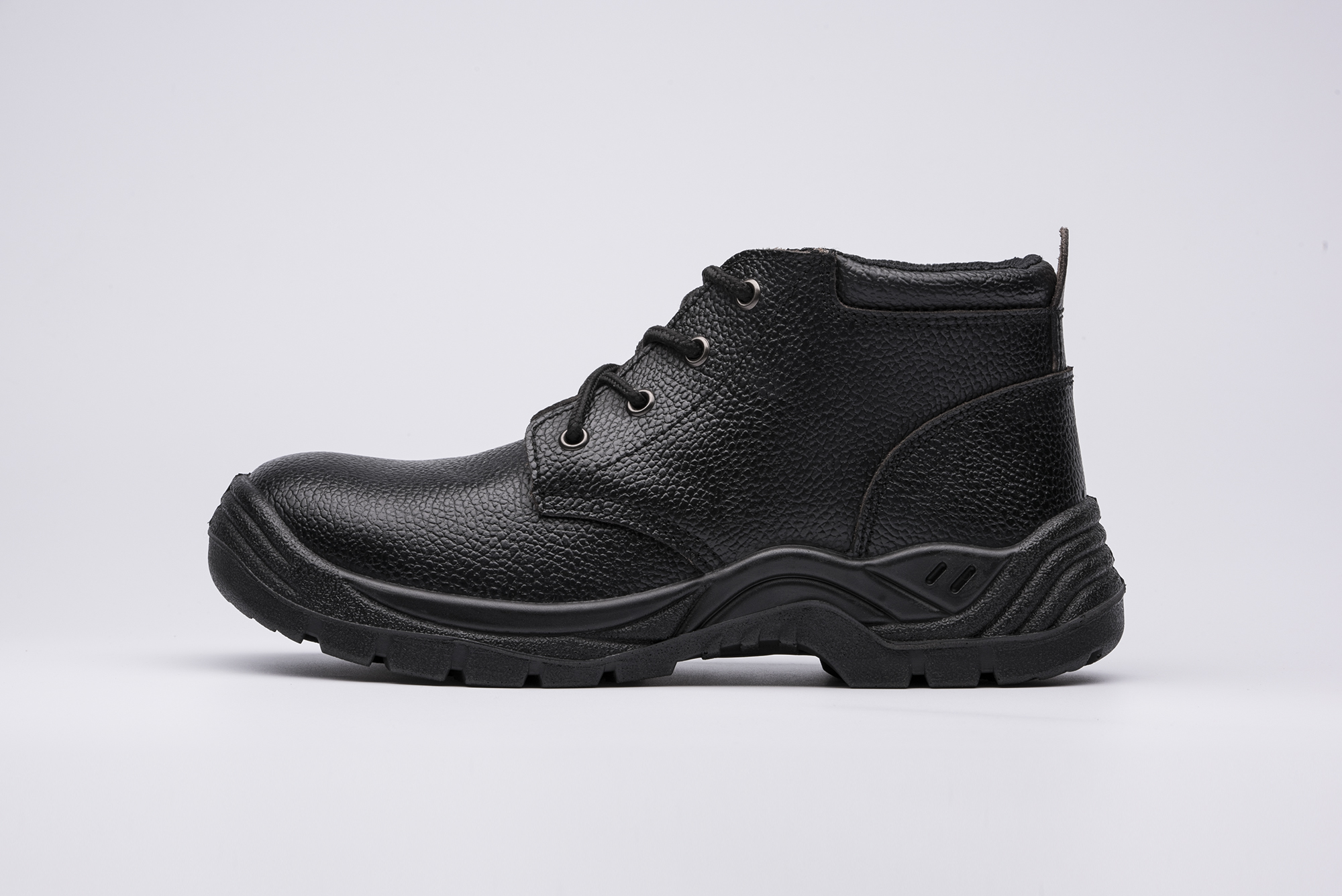 safety work shoes embossed split leatehr pu outsole