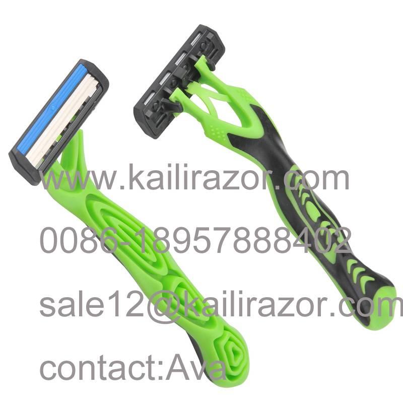 KL-X351L three blade rubber handle disposable shaving razor