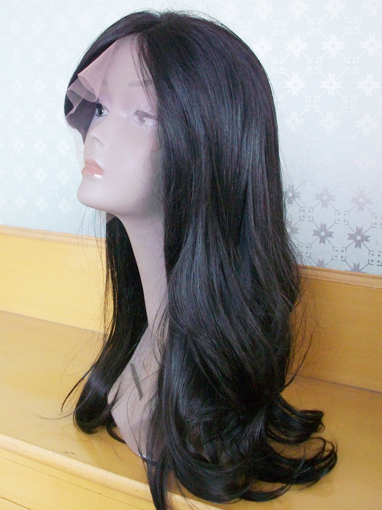 100% Chinese Virgin Long Wave Black Color Full Lace Wigs