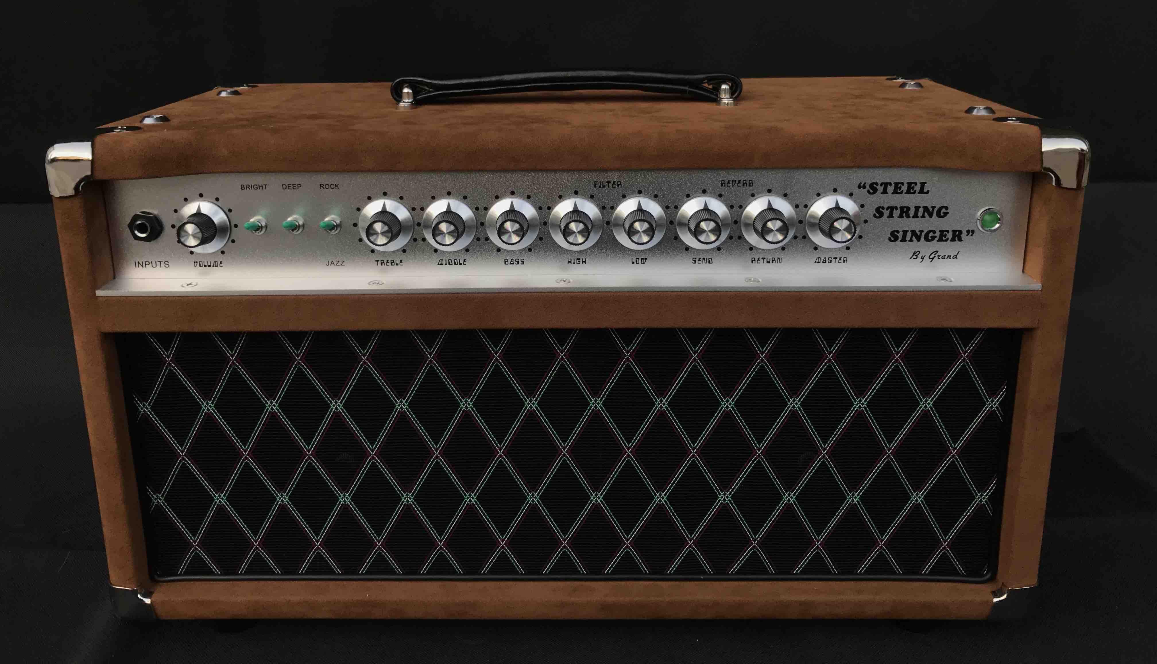 Professional Tube Guitar AMP Head 50W Dumble Tone SSS Steel String Singer Valve Amplifier in Brown