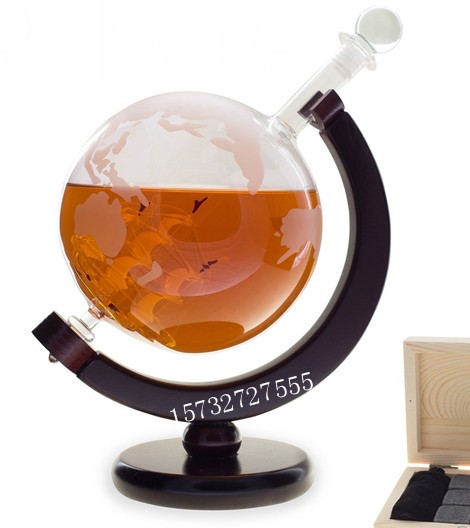 850ml whiskey globe decanter with stainless steel cube complete set