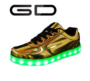 GD new trend sequined PU material led lighting night casual adult shoes