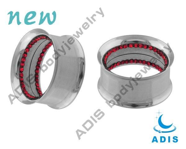 stainless steel internally thread multi gems inside double flared tunnel piercings