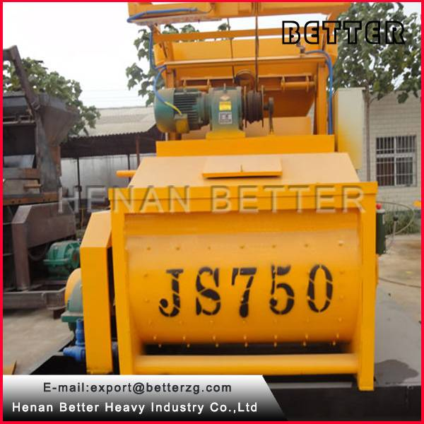 Great conditions JS750 lift hopper twin-shaft concrete mixer