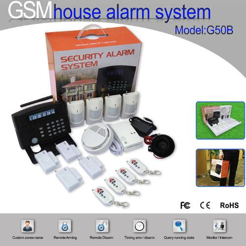 Smart Home Multi-Function LCD GSM Alarm System (G50B)